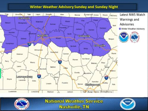 Sunday Weather advisory
